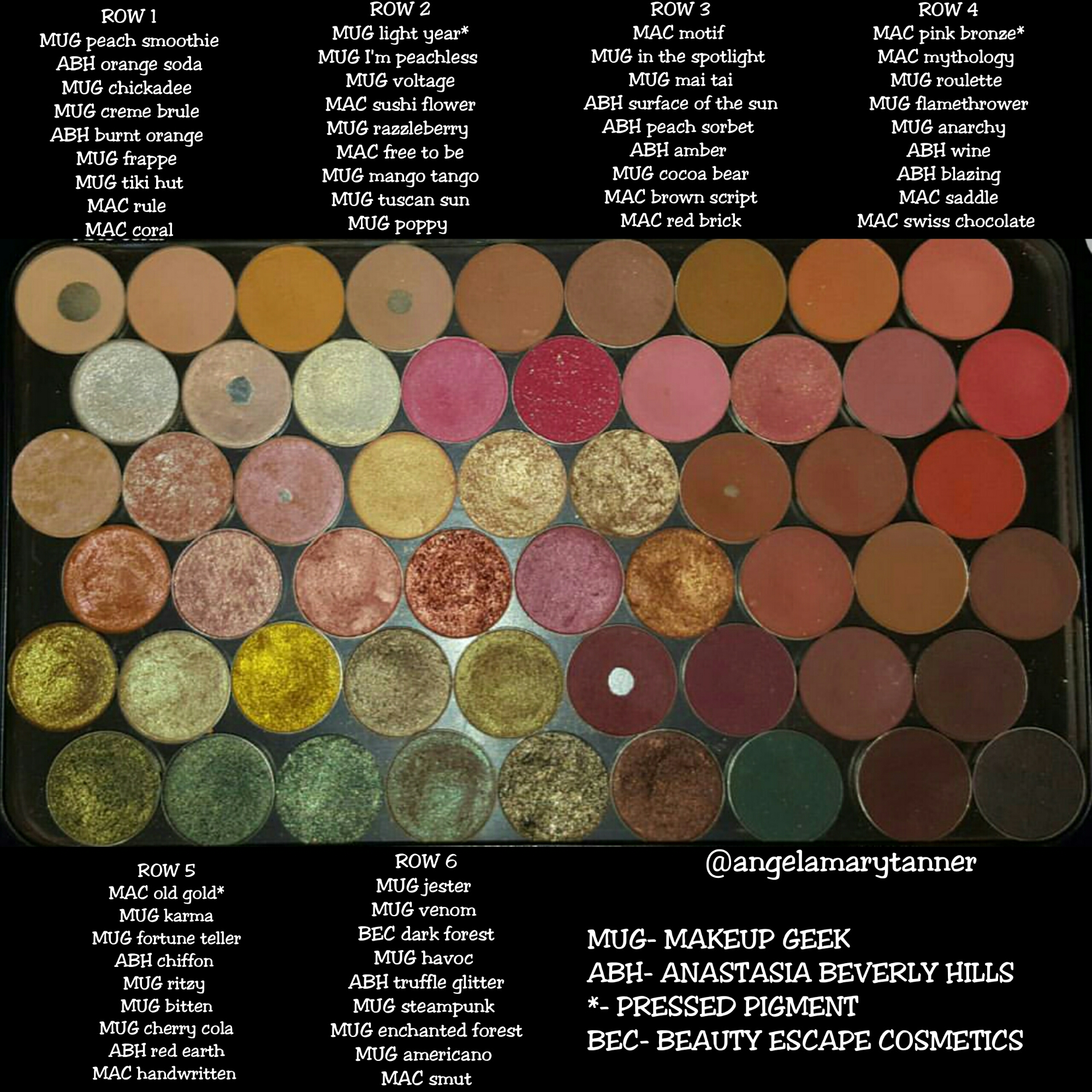 My most used, most loved XL MAKE UP FOR EVER magnetic palette filled with all my favorite warm single eyeshadows from Makeup geek, Mac, Anastasia Beverly ...