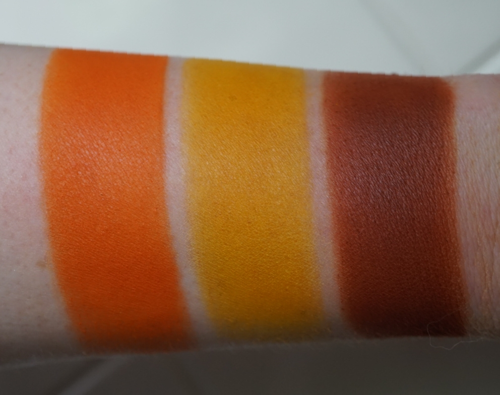 The First Color Is A Light Bright Orange Beautiful Transition It Pigmented But With Hand Could Work For Lighter Skin Tones